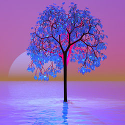 Tree Sunset, Digital Art / Computer Art, Abstract,Hallucinogens,Modernism, Avant-Garde,Botanical,Fantasy,Floral,Landscape,Seascape, Digital, By Matthew Lacey