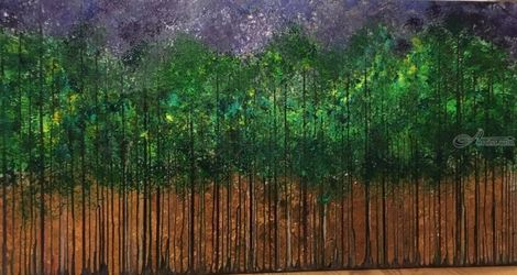 Treeline Beeline, Paintings, Abstract, Botanical,Landscape, Acrylic,Canvas,Painting, By Kenneth Parker
