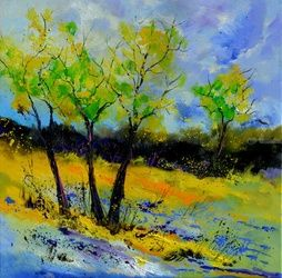 Trees 887160, Architecture,Decorative Arts,Drawings / Sketch,Paintings, Modernism, Landscape, Canvas, By Pol Ledent