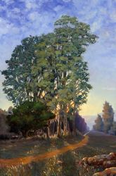 Trees at Sunset, Paintings, Impressionism, Botanical,Landscape, Canvas,Oil, By Mason Kang