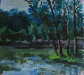 Trees near the river, Paintings, Fine Art,Impressionism,Realism, Figurative,Landscape, Oil, By Kateryna Bortsova