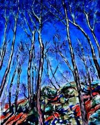 Trees and rocks, Paintings, Expressionism, Landscape, Acrylic,Canvas, By Victor Ovsyannikov