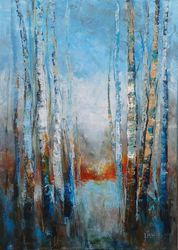 TREES STORIES #2, Paintings, Modernism, Landscape, Acrylic,Canvas, By Emilia Milcheva