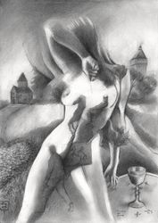 Tristan & Isolde – 09-12-19, Drawings / Sketch, Fine Art,Surrealism, Anatomy,Animals,Composition,Fantasy,Figurative,Historical,Inspirational,Landscape,Nudes,People, Pencil, By Corne Akkers