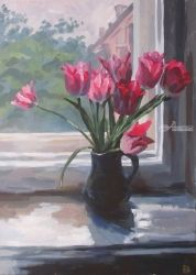 Tulips, Paintings, Fine Art,Realism, Botanical,Figurative,Floral,Nature,Still Life, Acrylic,Canvas, By Kateryna Bortsova