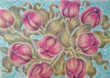 Tulips, Drawings / Sketch, Impressionism, Botanical,Floral, Pastel, By Tetyana K