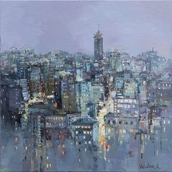 Twilight city - Urban<br>landscape painting, Paintings, Impressionism, Cityscape,Landscape, Oil, By Anastasiya Valiulina
