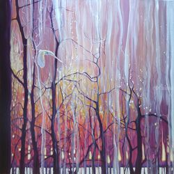 Twilight Grace - art nouveau<br>forest sunset with white owl, Paintings, Expressionism, Nature, Oil, By Gill Bustamante