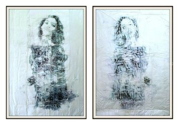 Twin sisters -02- (n.421) -<br>diptych, Paintings, Abstract, People, Acrylic, By Alessio Mazzarulli