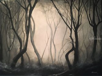 Path never taken, Paintings, Impressionism, Landscape, Watercolor, By Stephen Keller