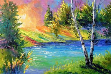 Two birches at dawn, Paintings, Expressionism,Fine Art,Impressionism, Botanical,Landscape,Nature, Canvas,Oil,Painting, By Olha   Darchuk
