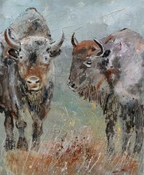 two buffaloes, Paintings, Expressionism, Decorative, Canvas, By Pol Ledent