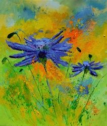 two cornflowers, Paintings, Expressionism, Botanical, Canvas, By Pol Ledent