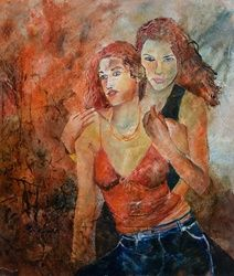 Two friends 67, Paintings, Impressionism, Erotic, Canvas, By Pol Ledent