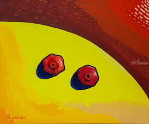 Two grenades, Paintings, Expressionism, Still Life, Canvas,Oil, By Ivan Klymenko