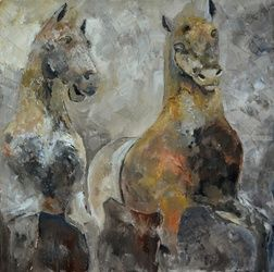 two horses, Paintings, Existentialism, Decorative, Canvas, By Pol Ledent