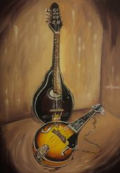 Two Mandolins(acrylic on<br>canvas) painter--Victoria Trok, Paintings, Fine Art, Still Life, Acrylic, By Victoria Trok