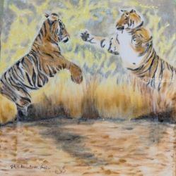 Two tigers fighting, Paintings, Fine Art, Animals, Oil,Painting, By Claudia Luethi alias Abdelghafar