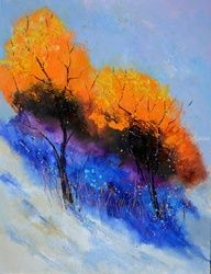 Two trees, Architecture,Decorative Arts,Drawings / Sketch,Paintings, Expressionism, Botanical, Canvas, By Pol Ledent
