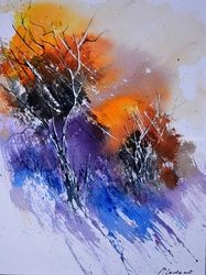 two trees 615, Paintings, Realism, Decorative, Watercolor, By Pol Ledent
