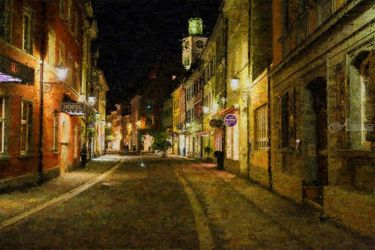 Uberlingen Historic Center<br>Germany, Paintings, Impressionism, Architecture, Oil,Painting, By Angelo