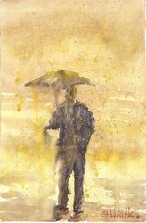 under umbrella, Paintings, Fine Art, Fantasy, Watercolor, By Eugene Gorbachenko