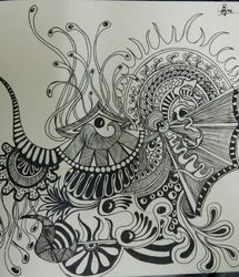 Undersea clings, Drawings / Sketch, Hallucinogens, Found Objects,Mythical,Seascape, Ink,Pencil, By Rajni A