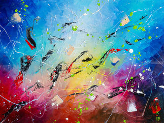 UNDERWATER COLORS, Paintings, Abstract, Fantasy, Canvas,Oil, By Liubov Kuptsova