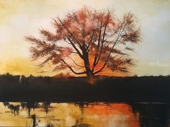 Autumn's Torch, Paintings, Impressionism, Landscape, Watercolor, By Stephen Keller