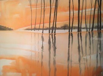 A Peaceful Reflection, Paintings, Impressionism, Landscape, Watercolor, By Stephen Keller