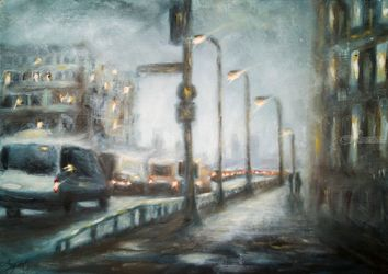 Urban Frustration, Paintings, Fine Art,Impressionism, Cityscape, Oil,Wood, By Angela Suto