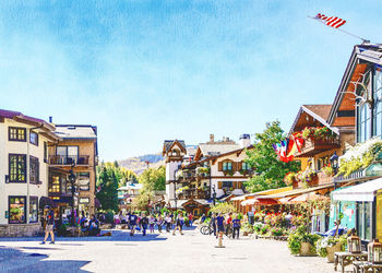 Vail-Colorado-Town, Paintings, Fine Art, Landscape, Watercolor, By Angelo