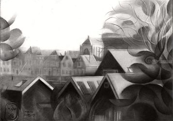 Veere – 04-04-19, Drawings / Sketch, Cubism, Architecture,Cityscape,Composition,Figurative,Historical,Inspirational,Landscape, Pencil, By Corne Akkers