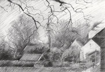 Veere – 08-05-19, Drawings / Sketch, Fine Art,Impressionism,Realism, Cityscape,Composition,Floral,Inspirational, Pencil, By Corne Akkers