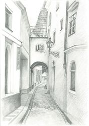 Vejvodova, Prague, Graphic, Fine Art,Impressionism,Realism, Architecture, Pencil, By Ivan Klymenko