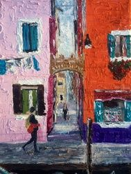 Venice street, Paintings, Abstract,Expressionism,Fine Art,Impressionism,Modernism, Cityscape, Oil, By Inna Montano