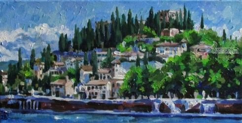 Verona, Paintings, Fine Art,Impressionism,Realism, Architecture,Cityscape,Land Art,Landscape, Canvas,Oil, By Kateryna Bortsova
