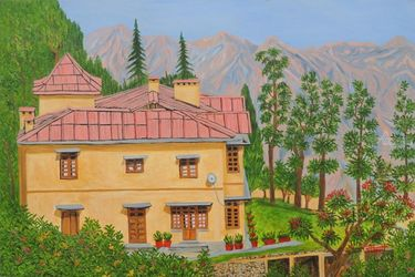 View from Gunhill Mussoorie, Paintings, Realism, Landscape, Canvas,Oil, By Ajay Harit