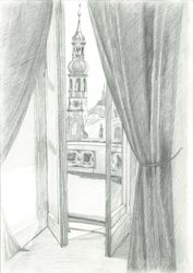 View from the window to<br>Loreta, Prague, Graphic, Fine Art,Impressionism,Realism, Architecture, Pencil, By Ivan Klymenko