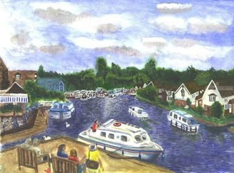 View from Wroxham<br>BridgeNorfolk Broads, Paintings, Realism, Land Art, Watercolor, By Michelle Archer