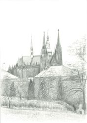 View of Prague Castle, Graphic, Impressionism,Realism, Architecture, Pencil, By Ivan Klymenko