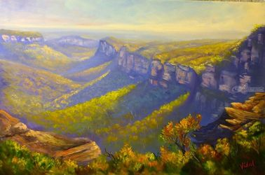 View of the Grose Valley from<br>Mount Banks Traverse, Paintings, Fine Art,Impressionism,Realism, Landscape, Canvas,Oil, By Christopher Vidal