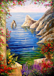 View of the rocks, Paintings, Impressionism, Botanical,Floral,Landscape, Canvas,Oil,Painting, By Olha   Darchuk