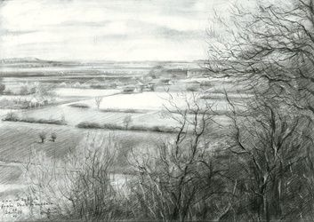 View on Zyfflich from Devil's<br>mountain - 04-04-15 (sold), Drawings / Sketch, Fine Art,Impressionism,Realism, Composition,Figurative,Inspirational,Landscape,Nature, Pencil, By Corne Akkers