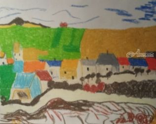 Village, Paintings, Impressionism, Landscape, Pastel, By MD Meiser