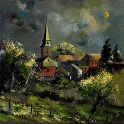 Village and moonshine, Architecture,Decorative Arts,Drawings / Sketch,Paintings, Expressionism, Nature, Canvas, By Pol Ledent