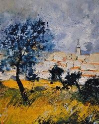 Village in Provence, Architecture,Decorative Arts,Drawings / Sketch,Paintings, Expressionism, Landscape, Canvas, By Pol Ledent
