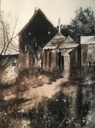 Village Lost in Time, Paintings, Impressionism, Landscape, Watercolor, By Stephen Keller