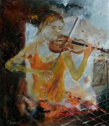 Violinist, Paintings, Impressionism, Music, Canvas, By Pol Ledent