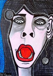 Visual images art in Israel<br>female israeli painter Mirit<br>Ben-Nun, Paintings, Expressionism, People, Ink, By Mirit Ben-Nun